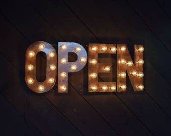Custom Flat Metal Lighted Open Sign Marquee Light Business Sign Marquee Sign
