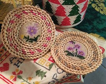 Pair of Vintage handmade straw hotpads