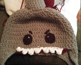 Adorable crocheted shark hat