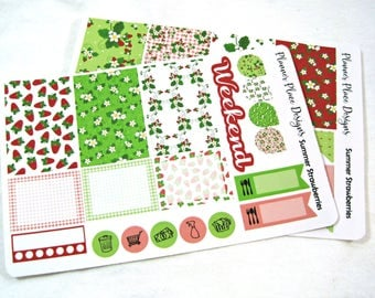 Planner Stickers - Weekly Planner Stickers - Happy Planner Stickers - Day Designer - Functional Stickers - Strawberry Stickers