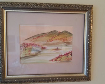 Framed Chinese inspired watercolor