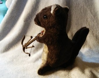 Brown and Tan plush Zombie Hunting Squirrel
