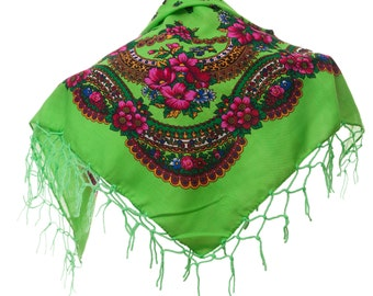 BRIGHT GREEN folk SCARF shawl with flowers and fringes Poland scarves fashion colors