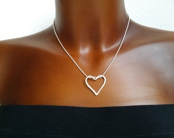 Hammered heart with ball chain Silver 925/00