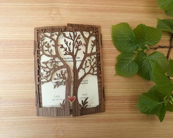 Wooden tree wedding invitation, Rustic engraved invite, Set Personalized Wedding Invitations, tree silhouette