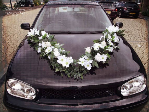 Luxury wedding car decoration artificial flowers garland white like this item junglespirit Image collections