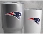 Super Bowl SALE! New England Patriots - Custom Powder Coated New England Silver 20oz & 30oz YETI Tumblers - Free Shipping
