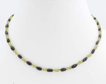 Necklace - Garnet and Peridot