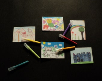 Miniature feltpens and children's drawings, 1:12th scale