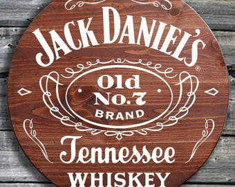 Traditional Jack Daniels Whiskey - Barrel End Style Wooden Pub Sign