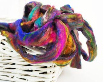 50g Multi-color Sari Silk Sliver, Silk Fibre, Wet Felting, Nuno Felting, Spinning, Felting Supplies