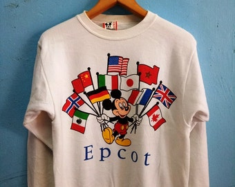 Vintage Sweater Disney Design Epcot Flag Mickey T-Shirt
