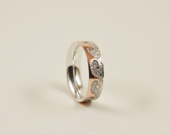 Ocean Waves Ring Ancient Waves Silver and Copper Ring