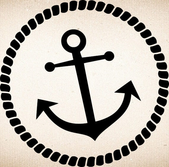 Anchor Svg Anchor W Rope Svg Files Anchor W Rope Round