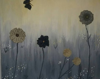 Paper flowers on yellow grey canvas