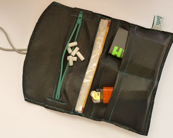 Tobacco pouch made of black smooth genuine leather