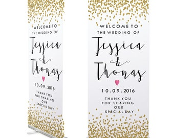 Gold Confetti Wedding Welcome Banner 200cm x 80cm