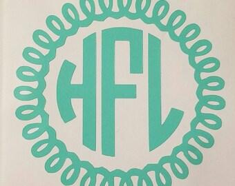 Free Shipping Curly Circle Monogram