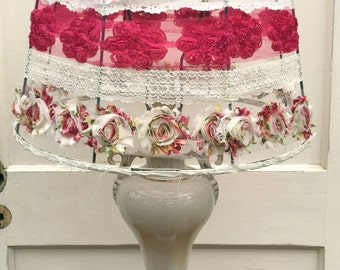 "Hand Sewn Lace Lampshade ""Margie"""