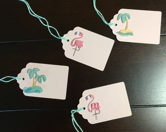 Flamingo favor tags, Palm Tree gift tags, Summer wedding, Flamingo bridal shower, Palm Tree baby shower, Tropical Party Theme - 9 per order
