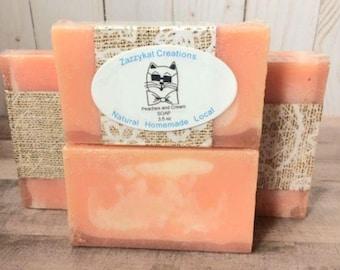 Peachs and Cream Soap-natural soap, peach soap, handmade soap, soap bar, paraben free soap, sulfate free soap, fruity soap, peach bar soap