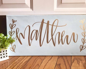 Custom name sign - nursery sign, name sign, personalized sign, nursery decor, hand lettered sign, 10x20 canvas, wall decor, home decor