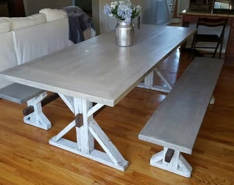 Custom Rustic Farm Table and Benchs
