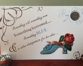 Lucky Sixpence for Bride Bridal Shoe Wedding Shower Engagement Gift Card