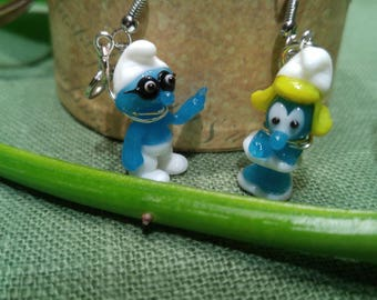 Earrings Smurfs glass! Miniature figurine glass to adorn your ears! Adorable! Jewelry for ears!