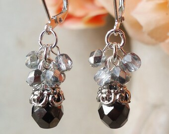 Black/White Dangle Earrings.Hematite Crystal Cluster.Bridal.Statement.Chandelier.Long Earrings.Holiday.Formal.Big Earrings.Boho.Handmade.