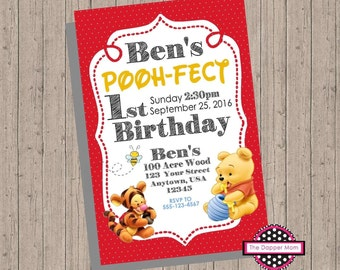 Winnie The Pooh Invite/First Birthday/Disney Invite/Winnie the Pooh/Disney Party/Red and Yellow/100 Acre Woodds/Christopher Robin/Tigger