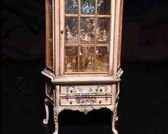 Showcase pink painted 1:11. Hand painted furnitures