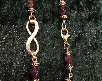Beautiful Handmade Amethyst Tibetan Silver INFINITY Bracelet Facilitating Spiritual Connection.
