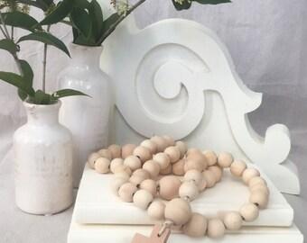 Decorative Raw Wooden Bead Rosary-FREE SHIPPING