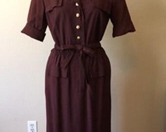 1960s Brown Vintage Dress