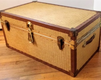 Vintage Rattan Wicker Storage Trunk with Cedar Lining Inside.