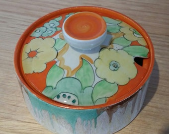 Clarice Cliff Bizarre Lidded Sugar Bowl