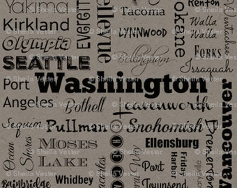 Washington Cities fabric - Fat Quarter - orange and black - grey and black