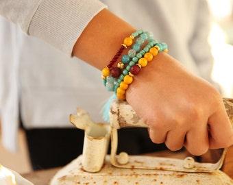 set Gemstone Bracelet, yellow Bracelet, turquoise Bracelet , Beaded Bracelet, Beaded Stacking Bracelet, Bead Bracelet,ElasticBracelet