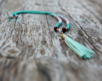 jade necklace,Gemstones necklace,Long beaded necklace,chrysocolla stone,Yoga Beads necklace,Accent bead tassel necklace,Turquoise necklace