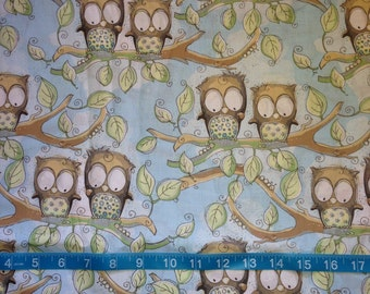 Family of Owls Fabric-By-The-Yard