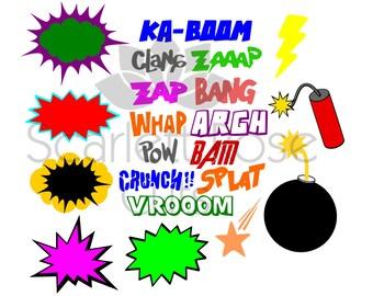 Cartoon Explosion Superhero Pow SVG cut file for silhouette cameo and cricut