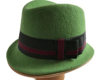 Green Trilby, Felt Hat, Father Day Present, Handmade Hat, Unisex Trilby, Gents Hat, Ladies Hat, Green Casual Hat, Races Hat Men