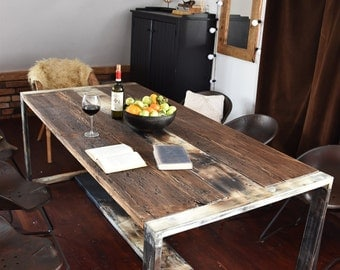 Hand Crafted 6 8 10 seater farmhouse style Reclaimed Wood & Steel Dining Table Handmade Industrial Kitchen Table old wood white brown black