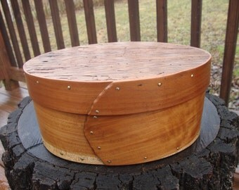 Hand made, bent wood box with slide on lid, Cherry and Barn wood