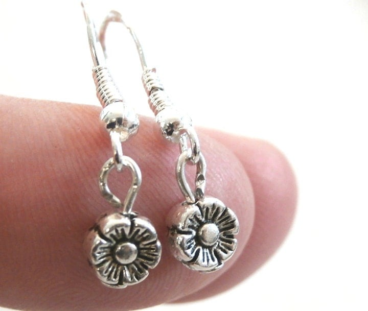 Flower charms earrings tiny flower dangle earrings for Gemsprouts tiny plant jewelry