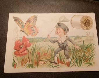 Victorian Trade Card J&P COATS 6 CORD THREAD boy chasing butterflies