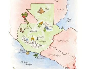 Guatemala Map Etsy - Map of guatemala