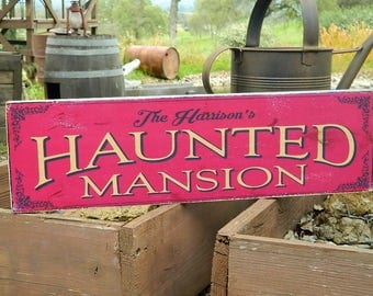 """Distressed Primitive Country Wood Sign - Your Name Haunted Mansion Halloween sign 5.5"""" x 19"""""""