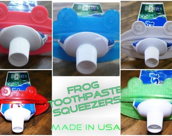 3 pieces frog home bathroom toothpaste tube extract squeezer cosmetic dispenser 3D printed - Made in USA